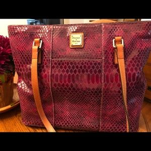 Dooney & Bourke burgundy snake print leather bag